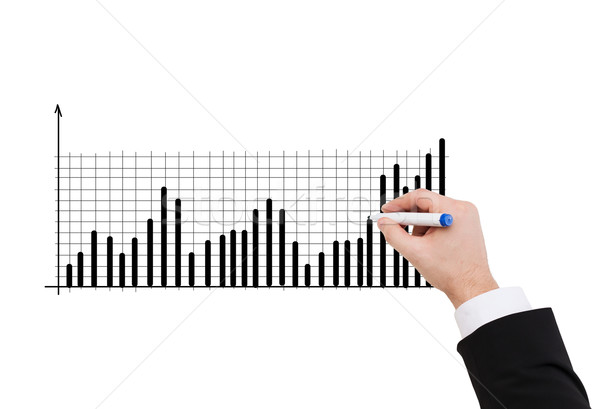 Közelkép üzletember rajz diagram üzlet hirdetés Stock fotó © dolgachov