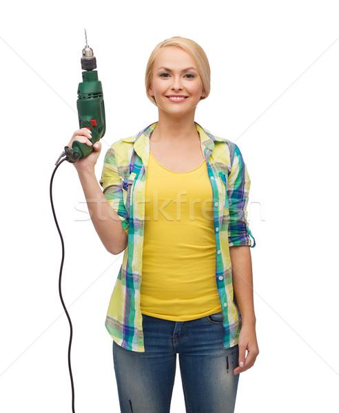 Foto stock: Sorrindo · três · de · um · tipo · máquina · reparar · construção · manutenção