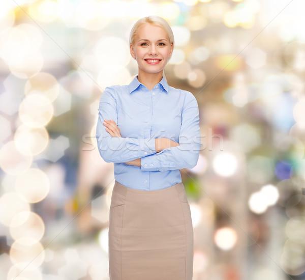 Jungen lächelnd Geschäftsfrau Arme Business Bildung Stock foto © dolgachov