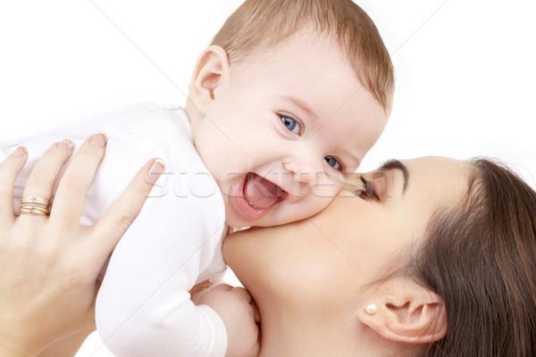 Boldog anya csók baba család gyermek Stock fotó © dolgachov