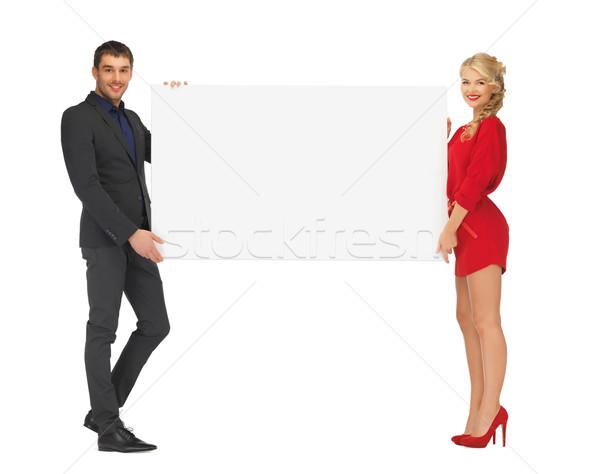 カップル ビッグ ホワイトボード 広告 ファッション ストックフォト © dolgachov