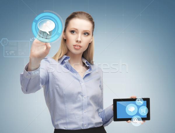 Stockfoto: Vrouw · werken · business · toekomst · technologie