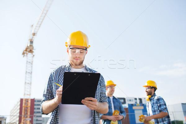 Stock fotó: Csoport · építők · kint · üzlet · épület · csapatmunka