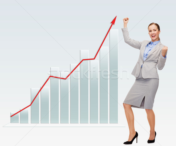 Feliz mujer de negocios las manos en alto negocios éxito personas Foto stock © dolgachov