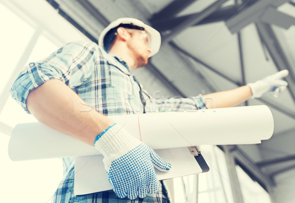 Man blauwdruk architectuur home helm Stockfoto © dolgachov