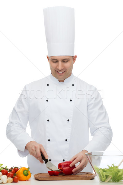 Stock photo: happy male chef cook cooking food