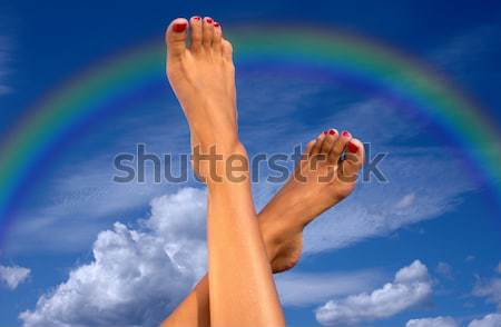 Zdjęcia stock: Ręce · tęczy · Błękitne · niebo · ludzi