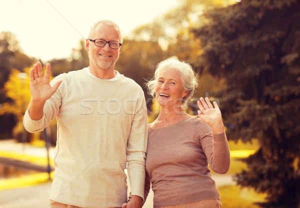 Idős pár ölel város park család kor Stock fotó © dolgachov