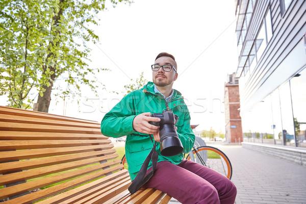 молодые человека цифровая камера город люди Сток-фото © dolgachov