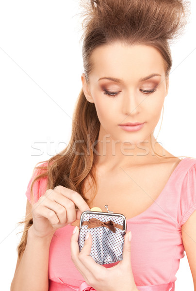 lovely woman with purse and money Stock photo © dolgachov