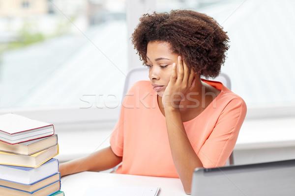 bored african american woman doing homework home Stock photo © dolgachov