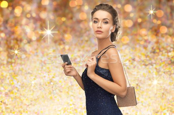 Stock fotó: Gyönyörű · nő · estélyi · ruha · vip · kártya · emberek · luxus