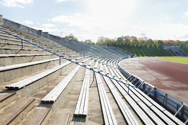 stands with rows of benches on stadium Stock photo © dolgachov