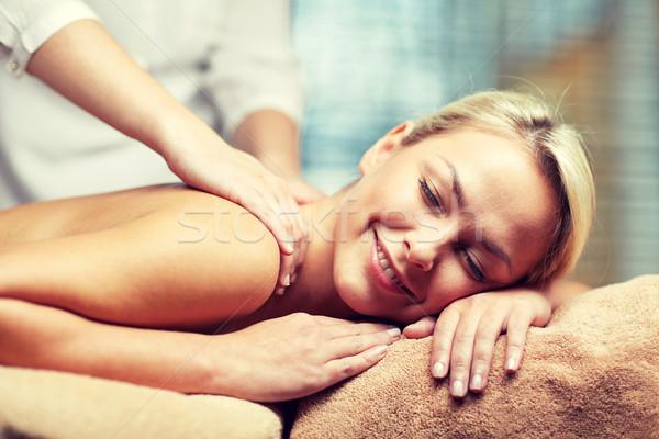 Közelkép nő masszázs fürdő emberek szépségszalon Stock fotó © dolgachov