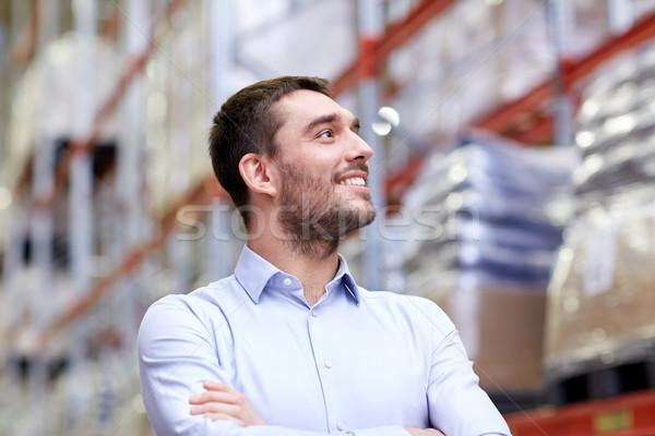 счастливым человека склад оптовая торговля бизнеса экспорт Сток-фото © dolgachov