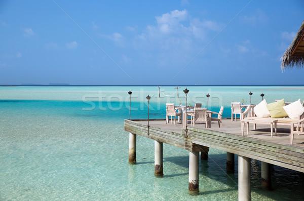 Outdoor restaurant terras meubels zee reizen Stockfoto © dolgachov