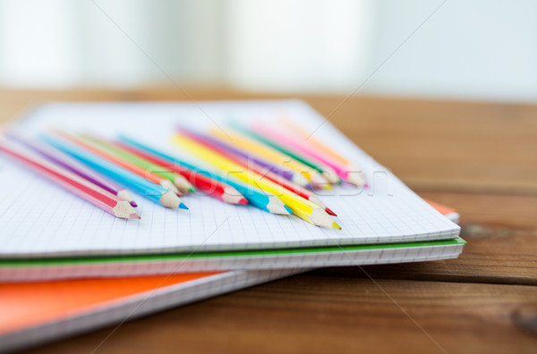 close up of crayons or color pencils Stock photo © dolgachov