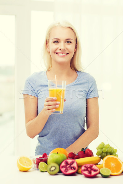 smiling woman drinking fruit juice at home Stock photo © dolgachov