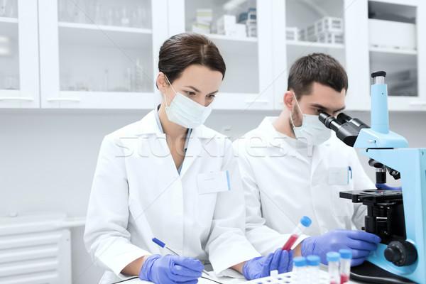 Bilim adamları mikroskop laboratuvar bilim kimya Stok fotoğraf © dolgachov