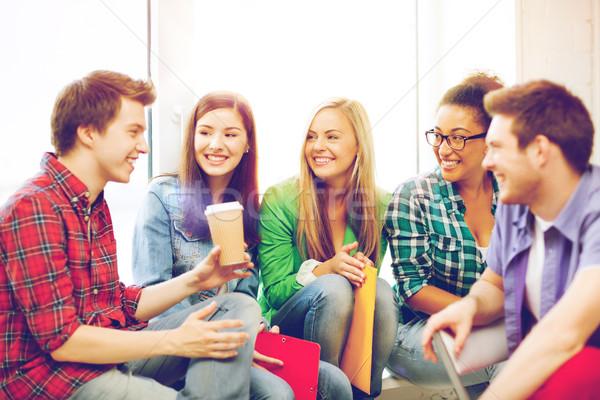 Estudiantes riendo escuela educación café Foto stock © dolgachov