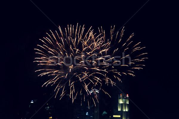 красивой фейерверк ночь город небе праздников Сток-фото © dolgachov