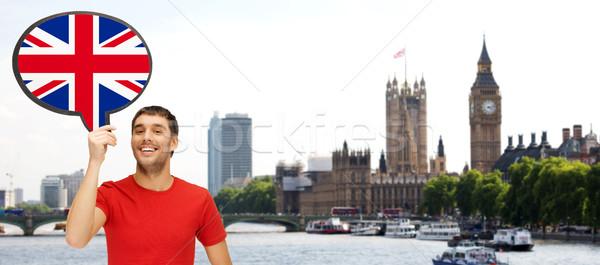 Adam metin kabarcık İngiliz bayrağı Londra yabancı Stok fotoğraf © dolgachov