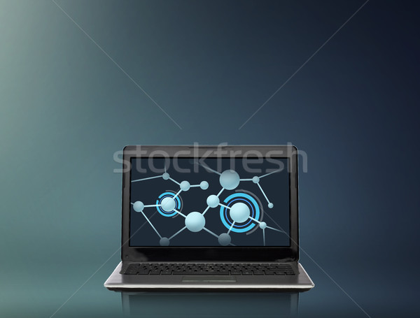 laptop computer with molecules structure on screen Stock photo © dolgachov