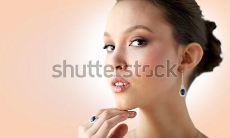 Photo stock: Belle · femme · boucle · doigt · anneau · beauté · bijoux