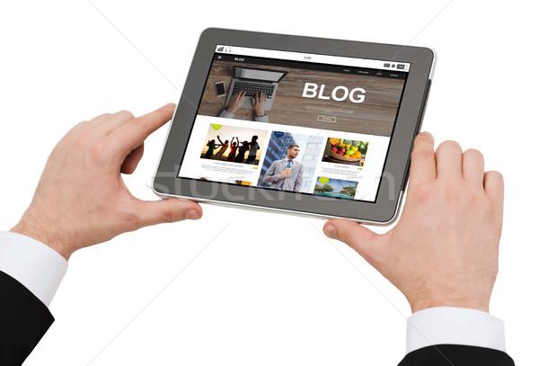 Człowiek blogging działalności Internetu Zdjęcia stock © dolgachov