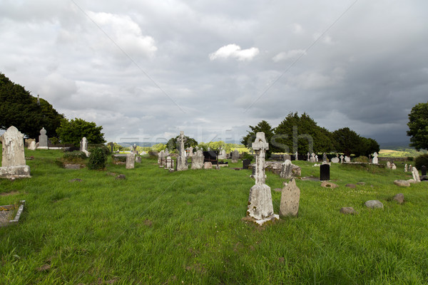 old celtic cemetery graveyard in ireland Stock photo © dolgachov