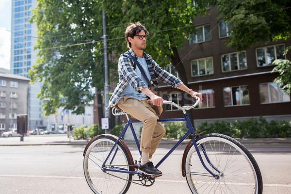 молодые человека сумку верховая езда зафиксировано Сток-фото © dolgachov