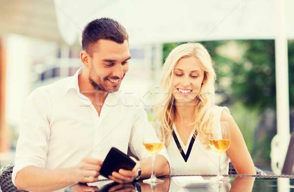 happy couple with wallet and bill at restaurant Stock photo © dolgachov