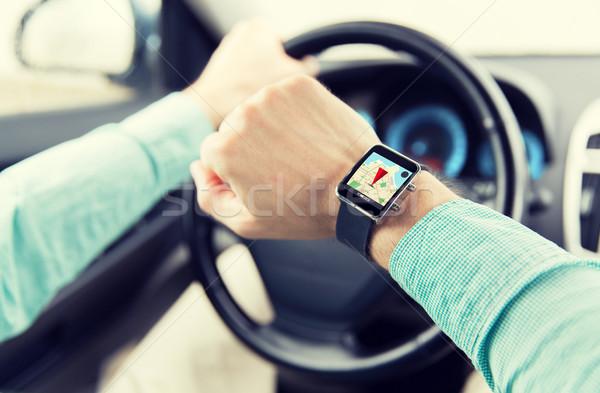 Człowiek jazdy samochodu GPS transportu Zdjęcia stock © dolgachov