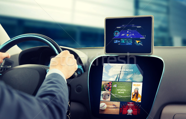 close up of man with gps on tablet pc driving car Stock photo © dolgachov