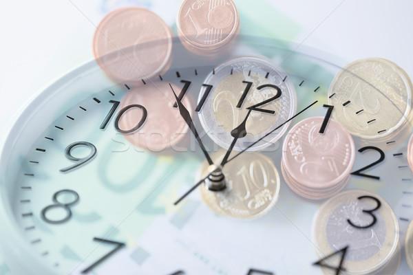 óra Euro pénz dupla kitettség idő Stock fotó © dolgachov