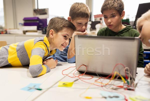 Kinder Laptop Erfindung Robotik Schule Stock foto © dolgachov