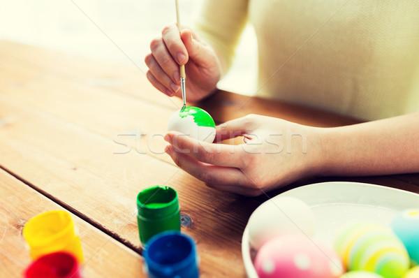 Stockfoto: Vrouw · handen · paaseieren · Pasen · vakantie