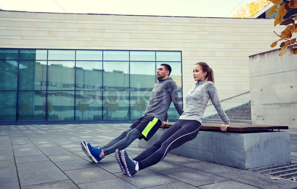 пару трицепс соус осуществлять улице фитнес Сток-фото © dolgachov