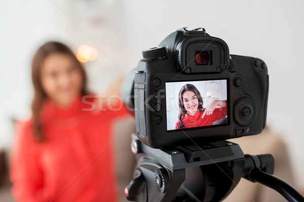woman with camera recording video at home Stock photo © dolgachov