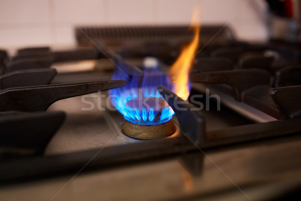égő benzin tűzhely láng konyha főzés Stock fotó © dolgachov