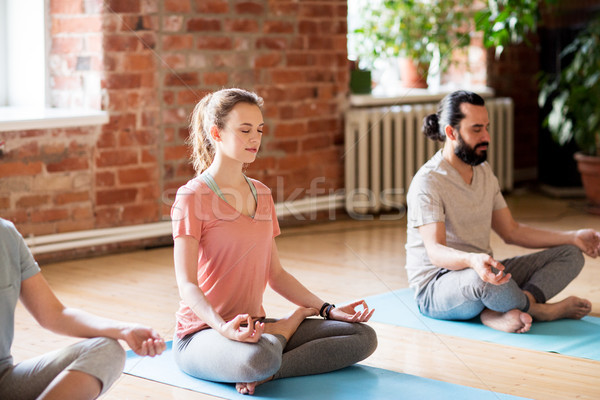 group of people making yoga exercises at studio Stock photo © dolgachov