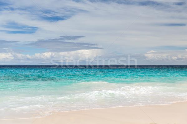 Strand indian oceaan Seychellen reizen zeegezicht Stockfoto © dolgachov