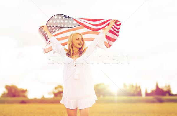 Feliz mujer bandera de Estados Unidos cereales campo país Foto stock © dolgachov