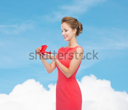 happy young woman with red paper heart Stock photo © dolgachov