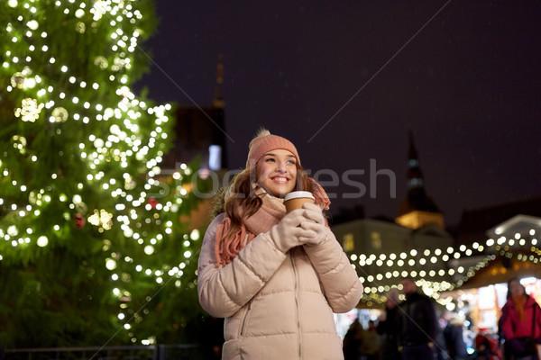Feliz café Navidad mercado invierno Foto stock © dolgachov