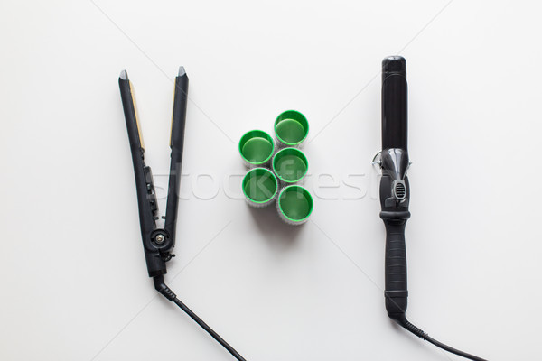 curling iron, hot styler and hair curlers Stock photo © dolgachov