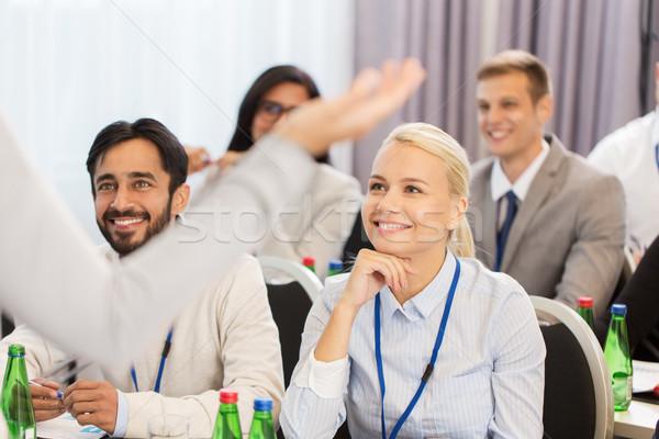 Grupy ludzi działalności konferencji wykład edukacji kobieta interesu Zdjęcia stock © dolgachov