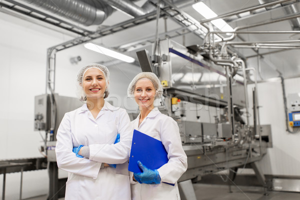happy women technologists at ice cream factory Stock photo © dolgachov