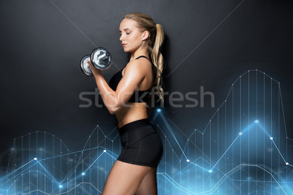 young sporty woman exercising with dumbbell Stock photo © dolgachov
