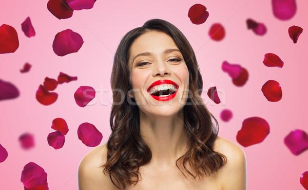 Güzel gülme genç kadın kırmızı ruj güzellik sevgililer günü Stok fotoğraf © dolgachov